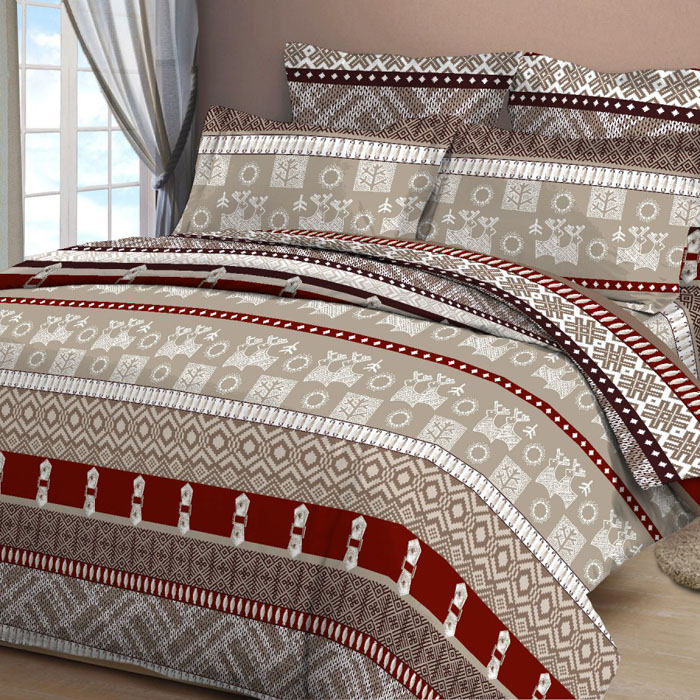 Комплект белья Letto, 2-спальный, наволочки 70х70, цвет: коричневый. B30-4