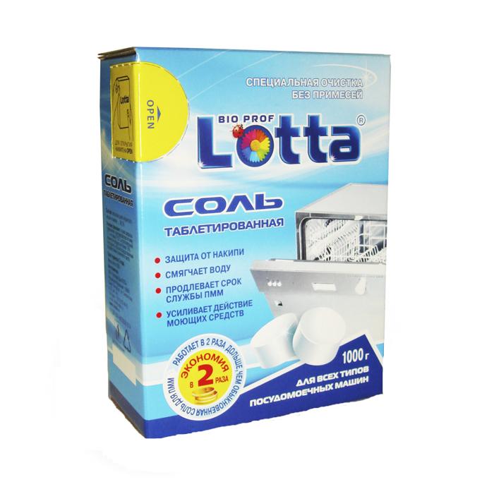 Соль таблетированная для посудомоечных машин Lotta, 1000 г16218Отложения извести могут негативно отразиться на работе посудомоечной машины. Соль применяется для регенерации ионообменных смол и предупреждения образования накипи в посудомоечных машинах. Таблетированная соль Lotta обеспечивает высокую эффективность умягчения воды в посудомоечной машине и более чем в два раза экономичнее обычной гранулировано соли при использовании. Соль продлевает срок службы посудомоечной машины. Благодаря своей формуле и твердости, соль обеспечивает высокую эффективность и экономичный расход средств в процессе смягчения воды и придания блеска чистой посуде. Подходит для всех типов посудомоечных машин. Состав: массовая доля хлористого натрия не менее 99,7%.Товар сертифицирован.