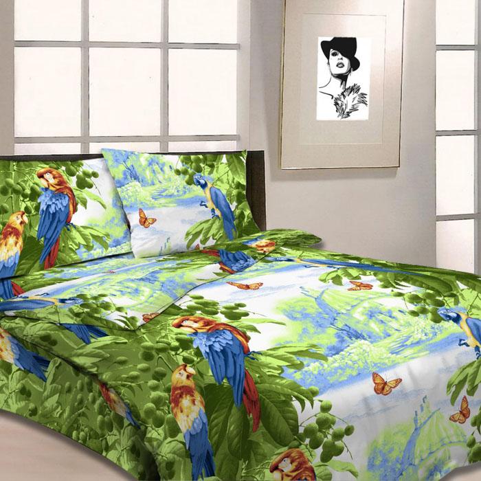 Комплект белья Letto, 1,5-спальный, наволочки 70х70, цвет: зеленый. B04-3