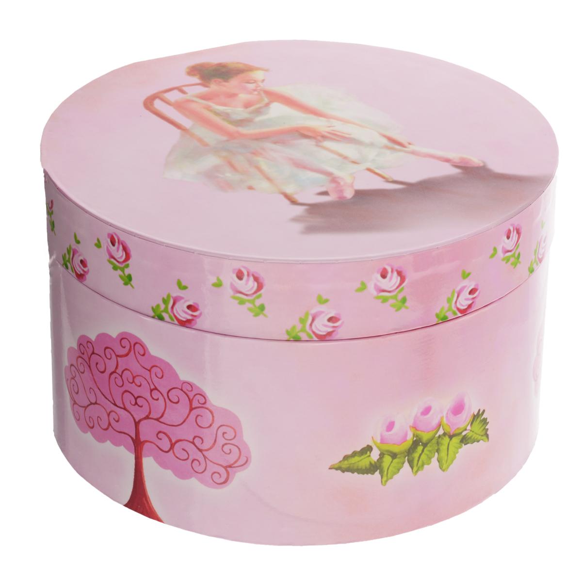 Музыкальная шкатулка Jakos  Балерина на стуле , круглая, цвет: розовый -  Детская комната
