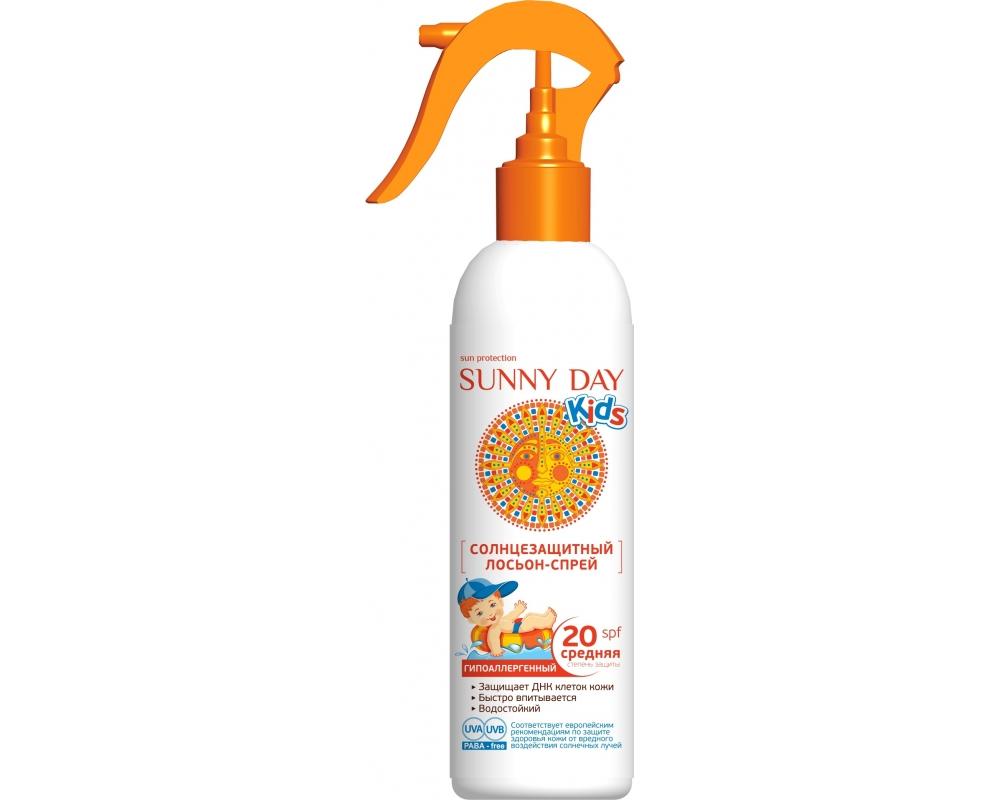 Sunny Day Солнцезащитный лосьон-спрей Kids, гипоаллергенный, SPF 20, 180 мл03.19.13.2846Солнцезащитный гипоаллергенный детский лосьон-спрей Sunny Day Kids с SPF 20 - обеспечивает очень высокую защиту от солнечного излучения, создавая абсолютно безопасный эффект солнцезащитных очков на коже. Средство быстро впитывается, эффективно защищает нежную детскую кожу от вредного UV-A и UV-B излучения благодаря запатентованной технологии микроинкапсулирования Eusolex UV-Pearls.Увлажняющий комплекс на основе биологически активного компонента Rona Care Ectoin обеспечивает восстановление защитных функций кожи и удерживает в ней влагу.Товар сертифицирован.