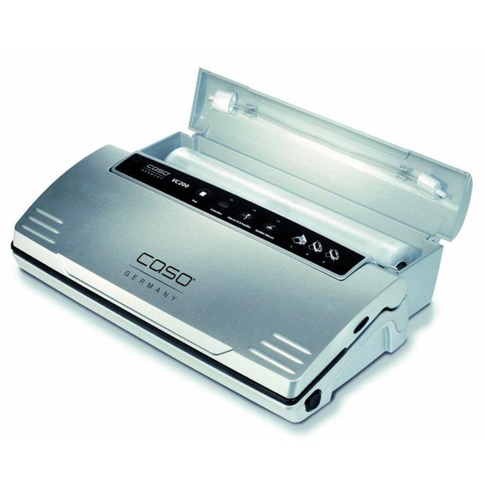 CASO VC 200 вакуумный упаковщикVC200CASO VC 200 -вакуумный упаковщик для надежного хранения пищевых продуктов (как мяса и рыбы, так и овощей ифруктов) без потери их питательных свойств. Полностью автоматическая система вакуумирования обеспечиваетоптимальную свежесть упакованных продуктов. Прибор оснащен электронным контролем температуры сварногошва. Имеется также кнопка остановки насоса для нежных продуктов.Съемный контейнер для случайно попадающих в вакуумную камеру жидкостей Съемный контейнер для рулонной пленки, встроенный резак Сварка пакетов двойным швом Производительность насоса: 12 л/мин Для пакетов шириной до 30 см Степень вакуума: 90% (-0,8 бар)