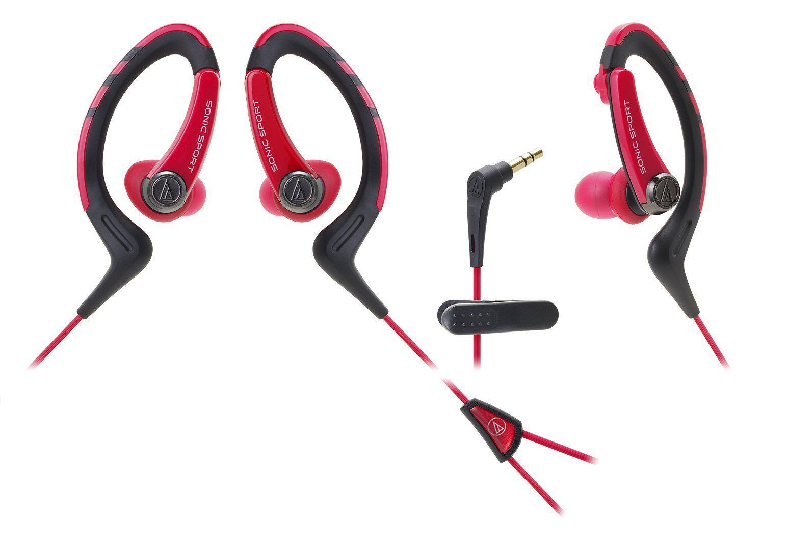 Audio-Technica ATH-Sport1, Red наушникиATH-SPORT1 RDНаушники-аксессуар, идеальны для занятий спортомУдобное гибкое резиновое крепление за ухом Долгие часы динамичного звучания Влагозащита уровня IXP5 Укороченный кабель с клипсой