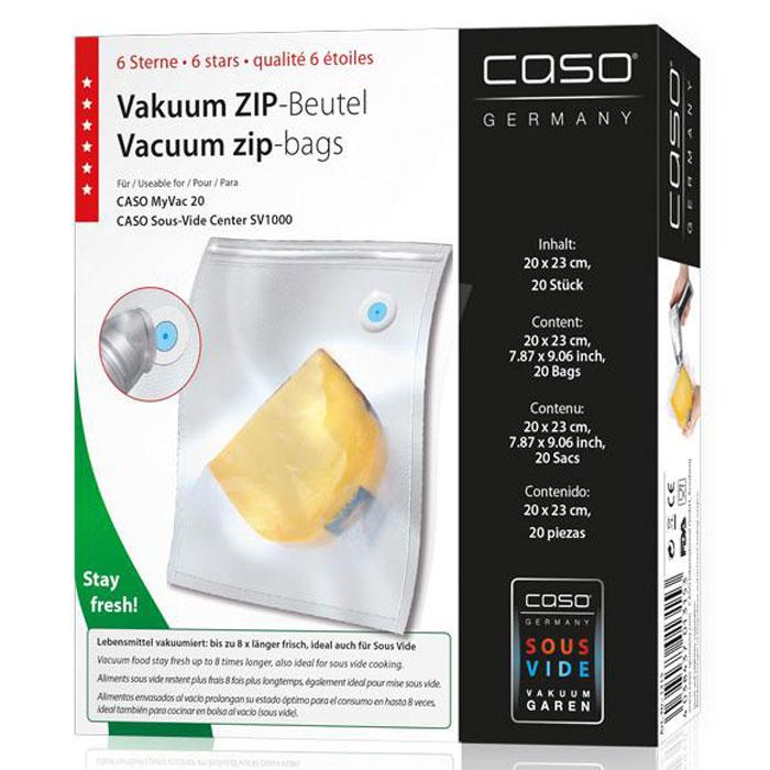 CASO ZIP 20х23 пакеты для вакуумного упаковщика, 20 шт.VC ZIP 20*23Специальные прочные пакеты CASO ZIP для вакуумного упаковщика с ZIP-замком. Ребристая внутренняя поверхность для оптимального вакуумирования. Высокая прочность пакета допускает замораживание, использование в СВЧ печи, готовку по технологии Sous-Vide.