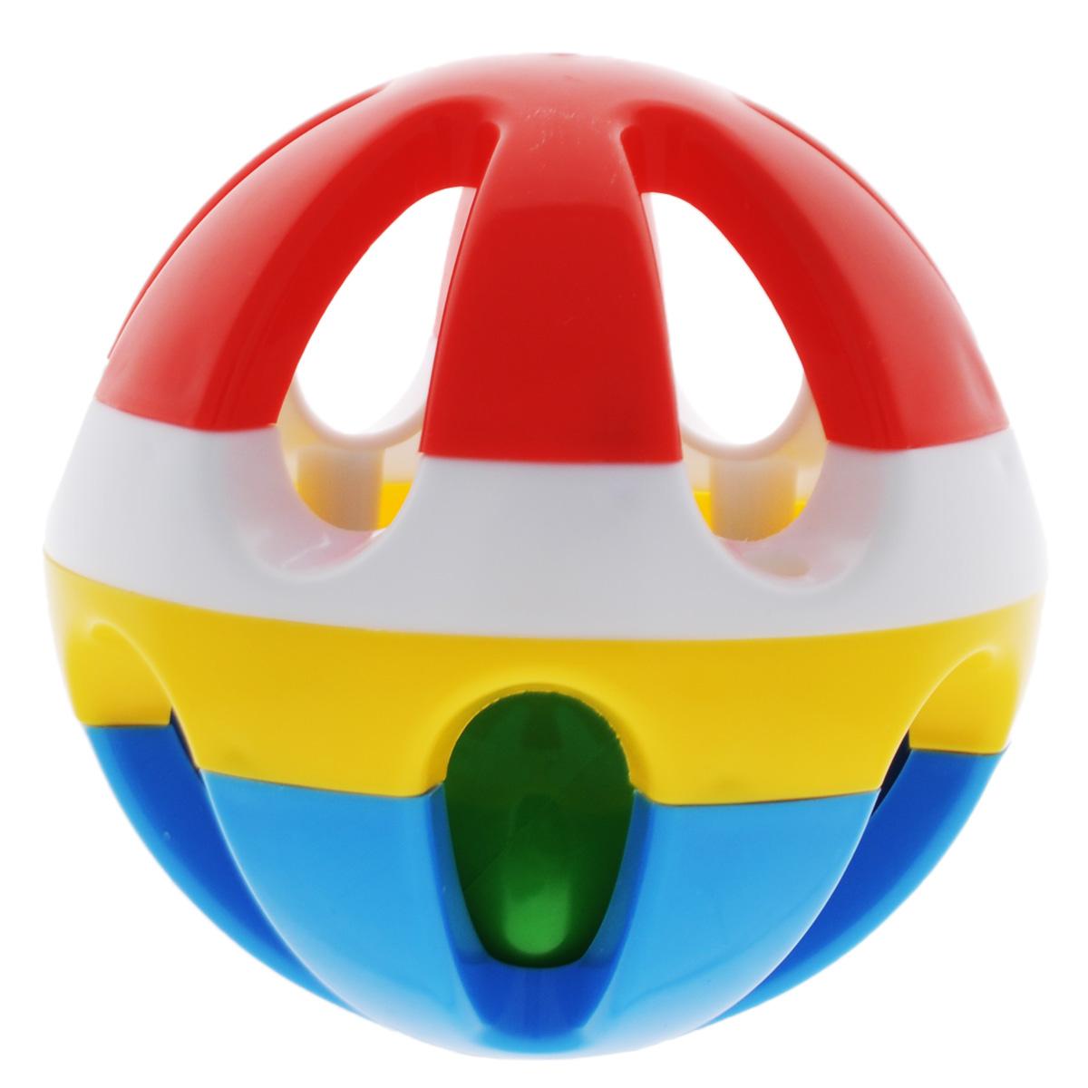 "Погремушка Stellar ""Шар"", 9 см, цвет: красный, белый, желтый, синий"