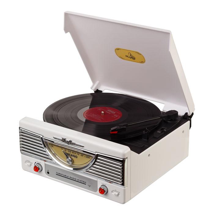 PlayBox Chicago ретро-проигрыватель, White (PB-103)PB-103-WHPlayBox Chicago - стильный и компактный проигрыватель виниловых дисков, дизайн которого напоминает проигрыватели в форме чемоданчиков 50-х годов прошлого века. Данная модель позволит вам прослушивать пластинки всех известных типов, а встроенный радиоприемник - наслаждаться любимыми радиостанциями. Помимо всех основных разъемов, проигрыватель оснащен встроенными динамиками.
