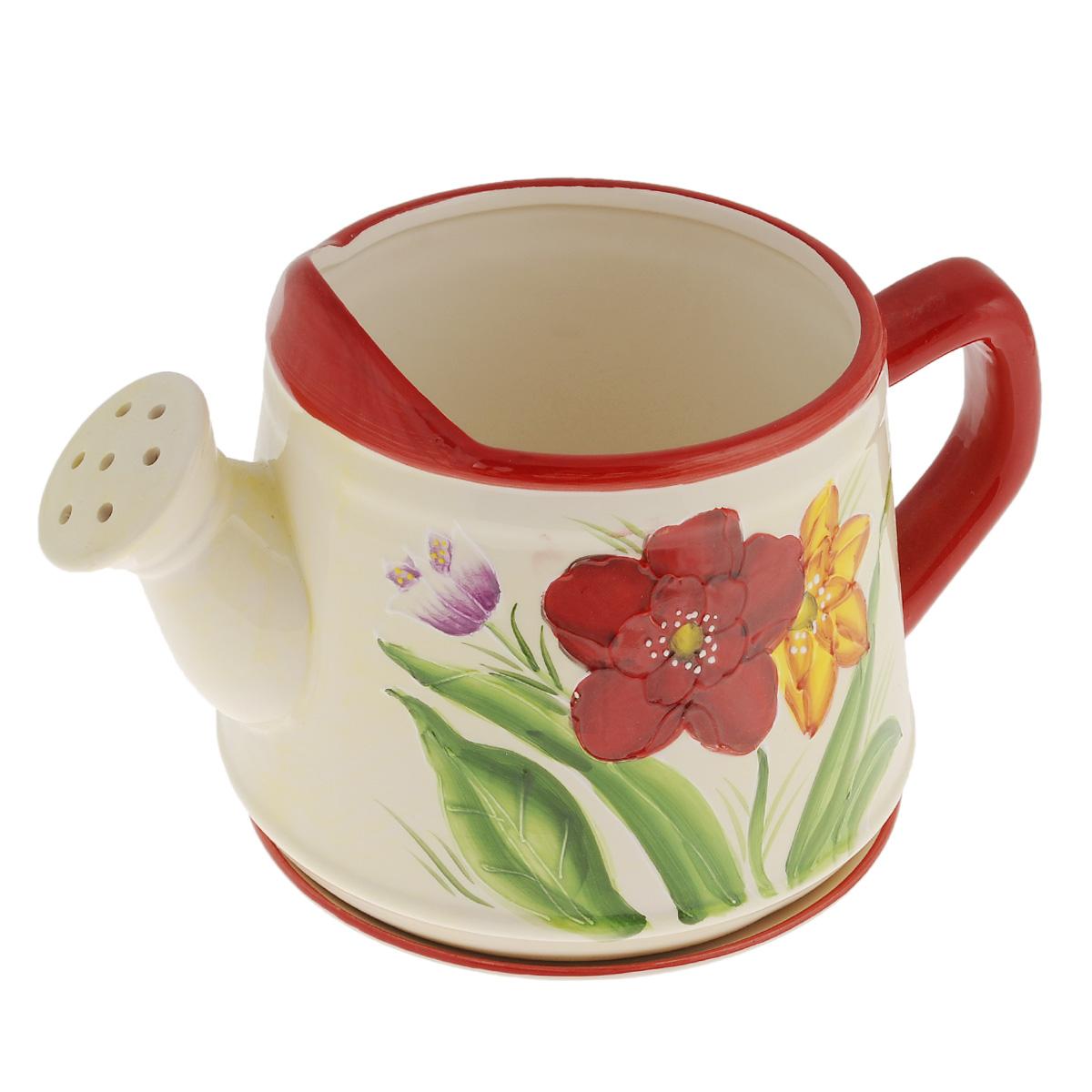 """Кашпо-горшок для цветов Lillo """"Лейка"""" выполнен из прочной керамики и декорирован красочным рисунком. Изделие предназначено для цветов.Такие изделия часто становятся последним штрихом, который совершенно изменяет интерьер помещения или ландшафтный дизайн сада. Благодаря такому кашпо вы сможете украсить вашу комнату, офис, сад и другие места. Изделие оснащено специальным поддоном - блюдцем. Диаметр кашпо по верхнему краю: 15,5 см. Высота кашпо (без учета поддона): 19 см. Диаметр поддона: 20,5 см."""