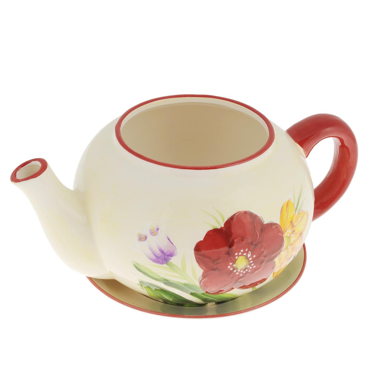 Кашпо Lillo Заварочный чайник, с поддоном. XY10S015-1EXY10S015-1EКашпо-горшок для цветов Lillo Заварочный чайник выполнен из прочной керамики и декорирован красочным рисунком. Изделие предназначено для цветов.Такие изделия часто становятся последним штрихом, который совершенно изменяет интерьер помещения или ландшафтный дизайн сада. Благодаря такому кашпо вы сможете украсить вашу комнату, офис, сад и другие места. Изделие оснащено специальным поддоном - блюдцем.Диаметр кашпо по верхнему краю: 12 см.Высота кашпо (без учета поддона): 14 см.Диаметр поддона: 20,5 см.