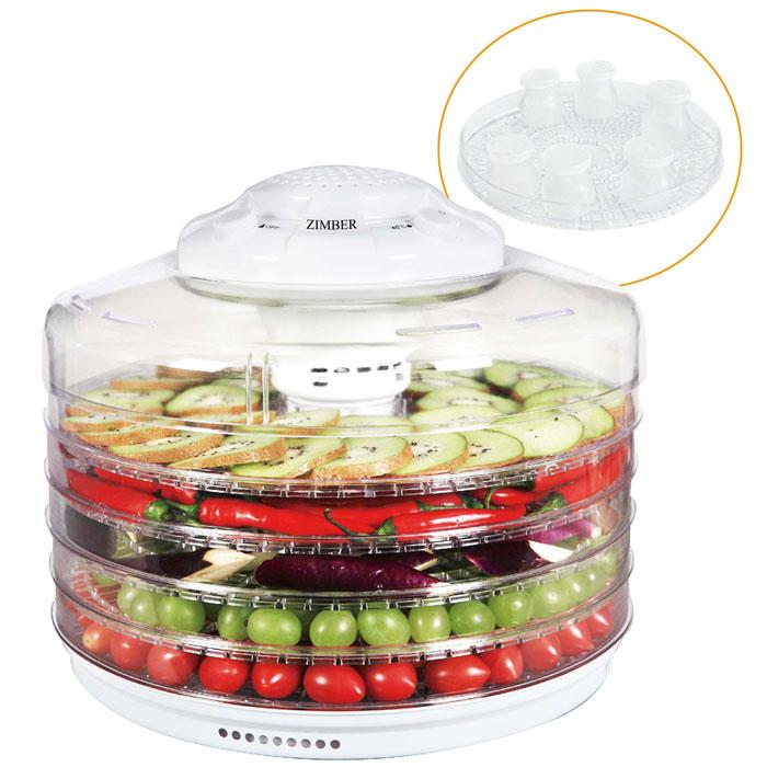 Zimber ZM-11025 дегидратор-йогуртницаZM-11025Zimber ZM 11025- это сушилка для овощей, которая позволит Вам быстро и качественно обработать овощи и фруктыдля их последующего хранения. С ее помощью вы с легкостью сделаете внушительные запасы витаминов на зиму.Пять уровней обеспечат удобное размещение продуктов внутри устройства и легкий доступ к ним, а прозрачныестенки корпуса позволят видеть, какие именно овощи находятся внутри. Подобрав оптимальную температуру вдиапазоне от 35 до 70 градусов, вы засушите овощи до необходимого состояния, а также сможете приготовитьйогурт. Также огромным плюсом является необычайная простота управления. 6 емкостей для йогурта входят в комплект