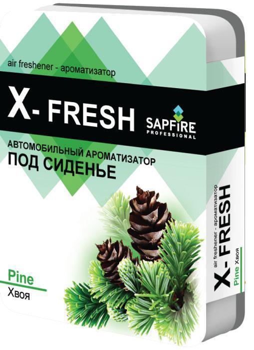 Ароматизатор под сиденье автомобиля Sapfire X-Fresh, хвоя20242-SATГелевый ароматизатор Sapfire X-Fresh обладает чудесным ароматом и эффективно нейтрализует все неприятные запахи, надолго сохраняет в воздухе ощущение свежести. Благодаря высококачественным компонентам и экономичному дизайну ароматизатор имеет широкий спектр применения: его можно установить в любом удобном для вас и незаметном месте - под сиденье автомобиля, платяном шкафу, под мебелью, в ванной комнате и туалете. Состав: ароматическая композиция, дезинфектант. Размер ароматизатора: 11 см х 14,5 см х 2,5 см.Вес: 200 г.
