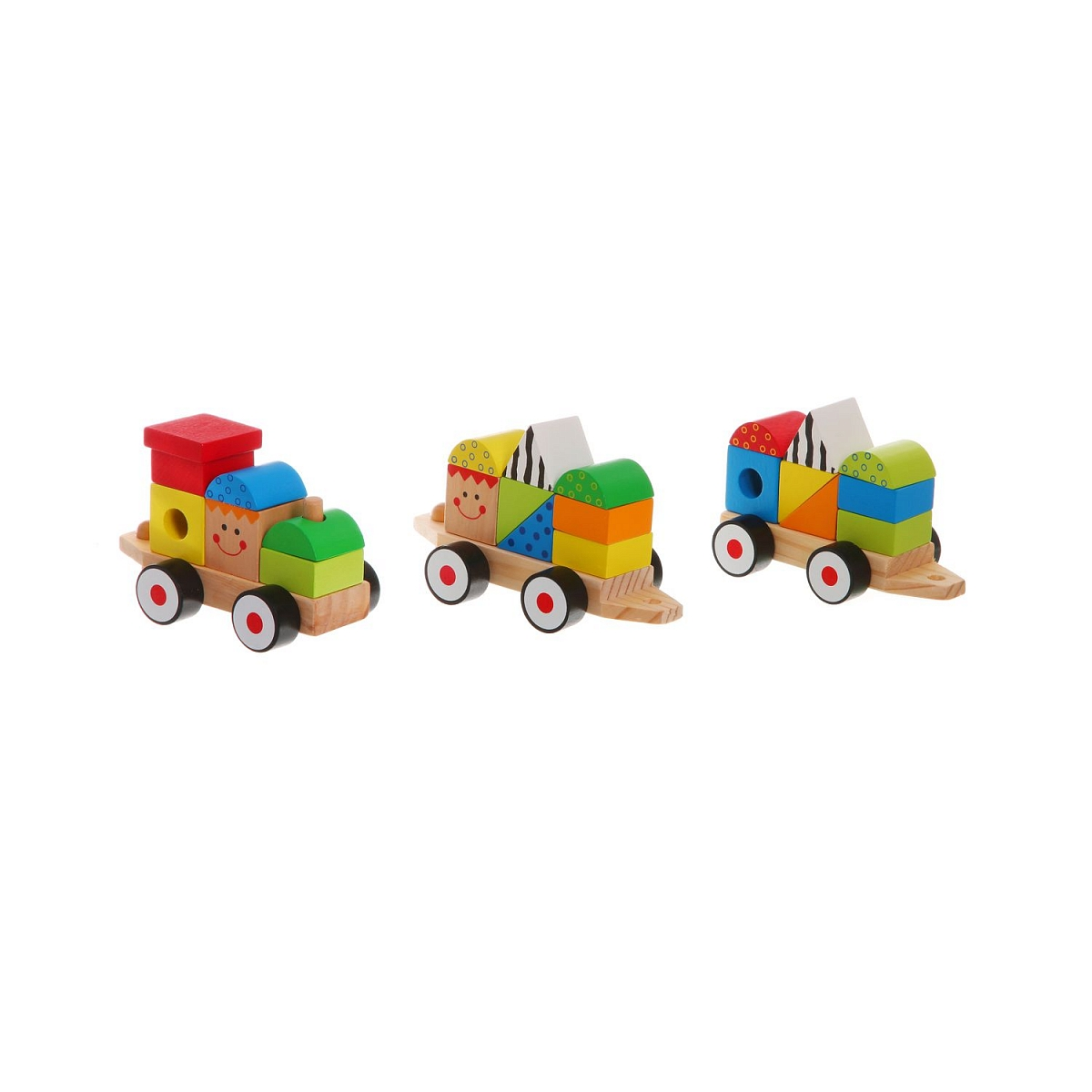 Деревянный конструктор-каталка Bondibon Чудо-поезд, 26 элементов конструктор деревянный toys lab цирковой поезд