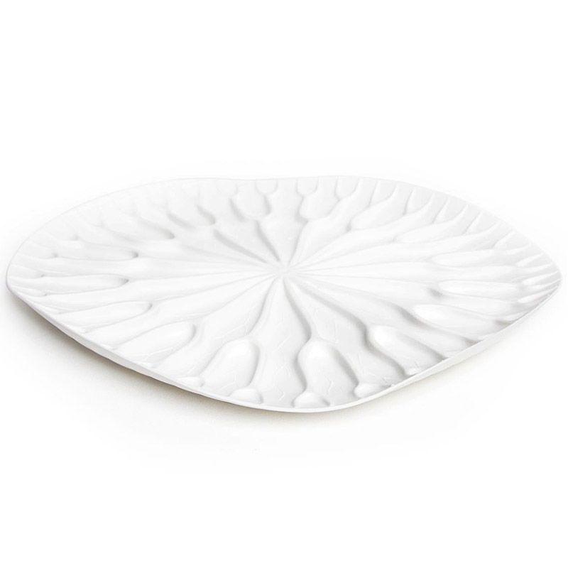 Сушилка-поднос Qualy Lotus, цвет: белый, 32,5 x 32,5 х 2,4 смQL10166-WHКак известно, лотосы растут в воде, а значит, великолепная пластиковая сушилка для посуды Qualy в виде листка лотоса должна быть поближе к раковине. Поставьте ее на столешницу или в шкаф, чтобы вода со свежевымытых стаканов, чашек, тарелок или столовых приборов стекала вниз на силиконовые желобки. Плюс к этому такую красоту можно использовать в качестве сервировочного подноса для овощей и фруктов.Размер: 32,5 x 32,5 х 2,4 см.