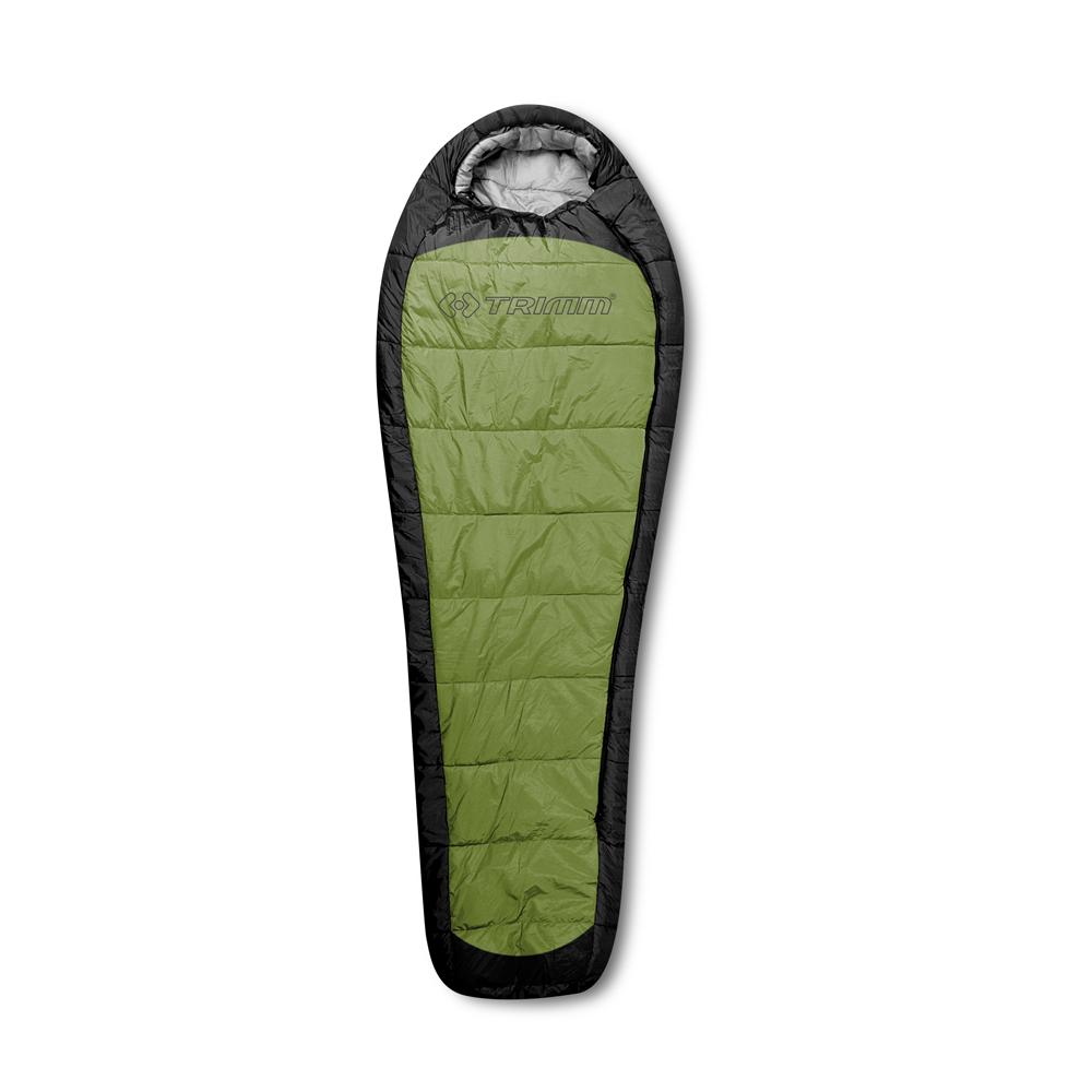 Спальный мешок Trimm IMPACT, цвет: зеленый, левосторонняя молния.R36969Спальный мешок Trimm IMPACT из серии Lite предназначен для отдыха в теплое время года, хотя и допускается использование при небольших заморозках. Особенностью этой модели является легкий вес и ее компактность. В модели присутствует возможность объединения 2 спальников в один объемный при помощи замков типа молния. Согласно стандарту EN 13537 эту модель можно использовать максимум при 10 градусах мороза, тем не менее, комфортно и уютно пользователь будет себя чувствовать в спальнике при температуре не ниже 4 градусов тепла.Вышеупомянутая компактность модели Trimm IMPACT достигается путем использования компрессионного мешка, и после укладки в него размер свертка занимает малый объем (15 см х 25 см х 19 см), а это, безусловно, будет большим плюсом в походе. В разложенном состоянии размеры спального мешка: длина в 230 см, ширина – 50/85 см (внизу/вверху), что обеспечит комфортное пребывание в нем человека с ростом до 195 см.Первый, он же наружный, слой спальника изготовлен из водонепроницаемого полиэстера, а внутренний, который непосредственно контактирует с пользователем - из водостойкого и дышащего нейлона. Между этими слоями находится прослойка из синтетического материала Termolite Quallo плотностью 100 г/м2, которая обеспечивает необходимый уровень термоизоляции.