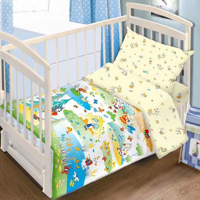 """Детский комплект постельного белья Baby Nice """"Семеро козлят"""" состоит из наволочки, пододеяльника и простыни на резинке. Такой комплект идеально подойдет для кроватки вашего малыша и обеспечит ему здоровый сон. Он изготовлен из натурального 100% хлопка, дарящего малышу непревзойденную мягкость. Натуральный материал не раздражает даже самую нежную и чувствительную кожу ребенка, обеспечивая ему наибольший комфорт. Простыня с помощью специальной резинки растягивается на матрасе. Она не сомнется и не скомкается, как бы не вертелся ребенок. Приятный рисунок комплекта, несомненно, понравится малышу и привлечет его внимание. На постельном белье Baby Nice """"Семеро козлят"""" ваша кроха будет спать здоровым и крепким сном.В комплект входит подарок: книжка-раскраска по мотивам русских народных сказок."""