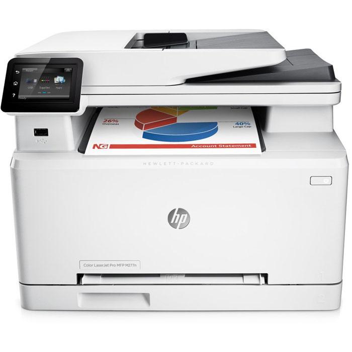 HP LaserJet Pro M277n лазерное МФУ (B3Q10A)B3Q10AМощные возможности в компактном корпусе. МФУ HP LaserJet Pro M277n с оригинальными лазерными картриджами HP, поддерживающими технологию JetIntelligence, представляет собой идеальное решение со всеми необходимыми функциями для эффективной работы.Повысьте эффективность работы:Печатайте высококачественные цветные документы, способные ускорить развитие вашего бизнеса, прямо в офисе.Сенсорный экран диагональю 7,6 см позволяет быстро находить необходимые приложения и выполнять сканирование непосредственно на электронную почту, в сетевые папки и в облако.Отправляйте на печать документы Microsoft Word и PowerPoint прямо с USB-накопителя.Оцените удобство и безопасность мобильной печати:Для отправки заданий печати с большинства смартфонов и планшетов не потребуются специальные приложения.Откройте для своих сотрудников преимущества прямой беспроводной печати с мобильных устройств без подключения к корпоративной сети.Увеличенный ресурс, высокая производительность и надежная защита:Оригинальные цветные лазерные картриджи HP увеличенной емкости, поддерживающие технологию JetIntelligence, обеспечивают максимальную производительность.Оригинальный тонер HP ColorSphere 3, разработанный специально для принтеров HP, гарантирует профессиональное качество и высокую скорость печати.Технология защиты от злоумышленников — гарантия знаменитого качества HP.Устройство поставляется уже готовым к работе и содержит предварительно установленные лазерные картриджи. При необходимости их можно заменить на специальные картриджи увеличенной емкости.Встречайте повседневные ИТ-проблемы во всеоружии:Защищайте данные и управляйте устройствами с помощью пакета, в который входят ключевые средства для обеспечения безопасности и контроля.Встроенный сетевой интерфейс Ethernet обеспечивает удобство настройки, печати и обмена файлами.Решение HP JetAdvantage Private Print обеспечивает надежную защиту, позволяя контролировать рабочие процессы и избегать дополнительны