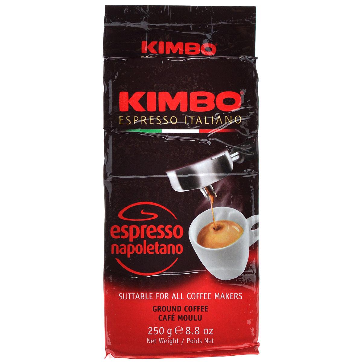 Kimbo Espresso Napoletano кофе молотый, 250 г (в/у)8002200602116Натуральный жареный молотый кофе Kimbo Espresso Napoletano с интенсивным вкусом и богатым ароматом. Традиционная неаполитанская обжарка характеризуется густой пенкой. Идеально подходит для любителей крепкого эспрессо. Состав смеси: 90% арабика, 10% робуста.
