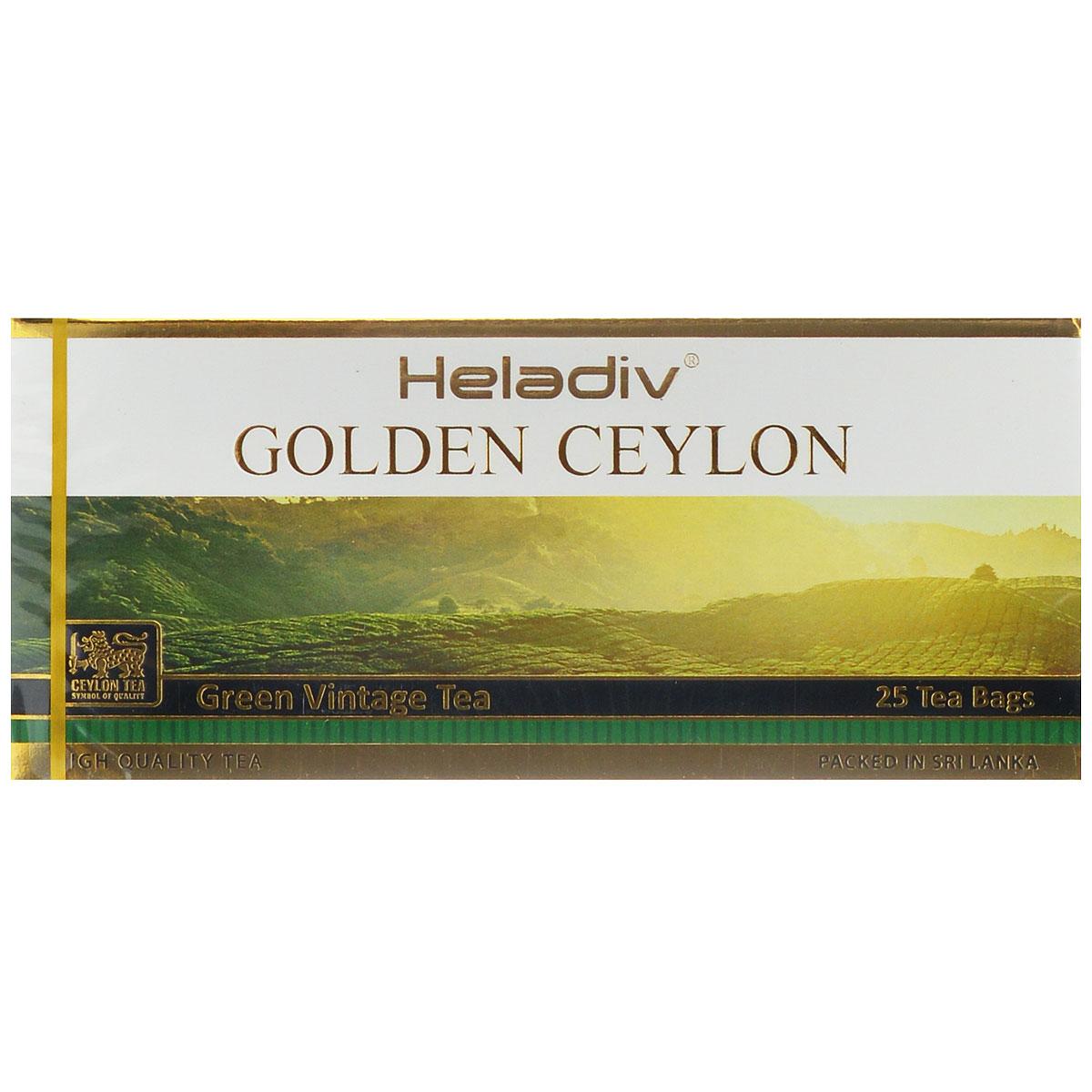 Heladiv Golden Ceylon Vintage Green зеленый пакетированный чай, 25 пакетиков чай зеленый akbar green tea китайский пакетированный