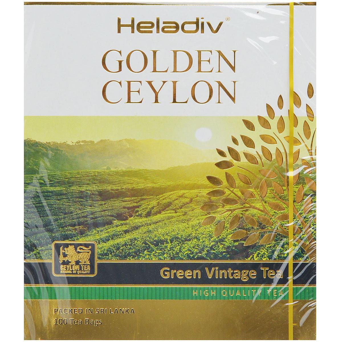 Heladiv Golden Ceylon Vintage Green зеленый пакетированный чай, 100 пакетиков чай зеленый akbar green tea китайский пакетированный