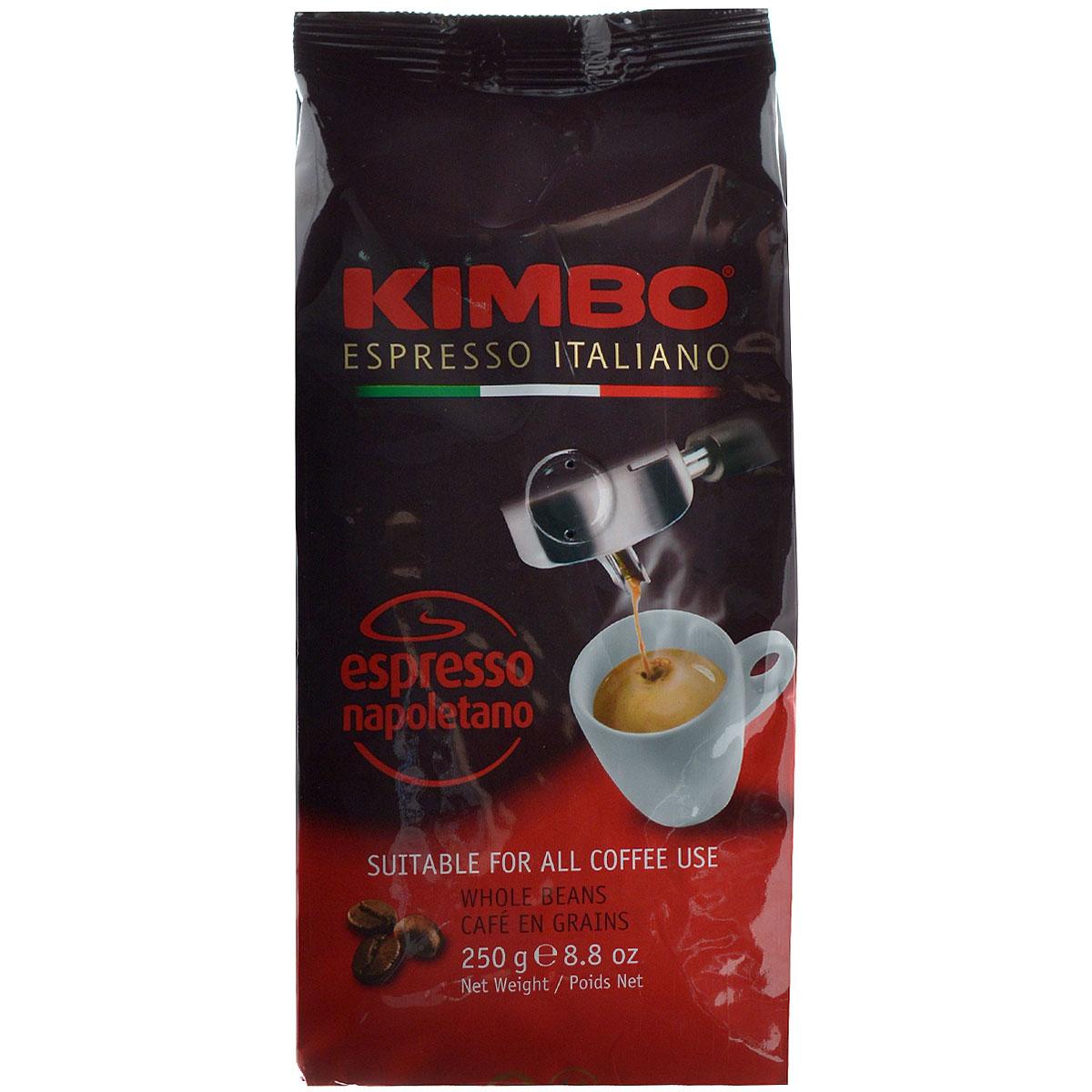 Kimbo Espresso Napoletano кофе в зернах, 250 г8002200602123Натуральный жареный кофе в зернах Kimbo Espresso Napoletano с интенсивным вкусом и богатым ароматом. Традиционная неаполитанская обжарка характеризуется густой пенкой. Идеально подходит для любителей крепкого эспрессо. Смесь содержит 90% арабики и 10% робусты.