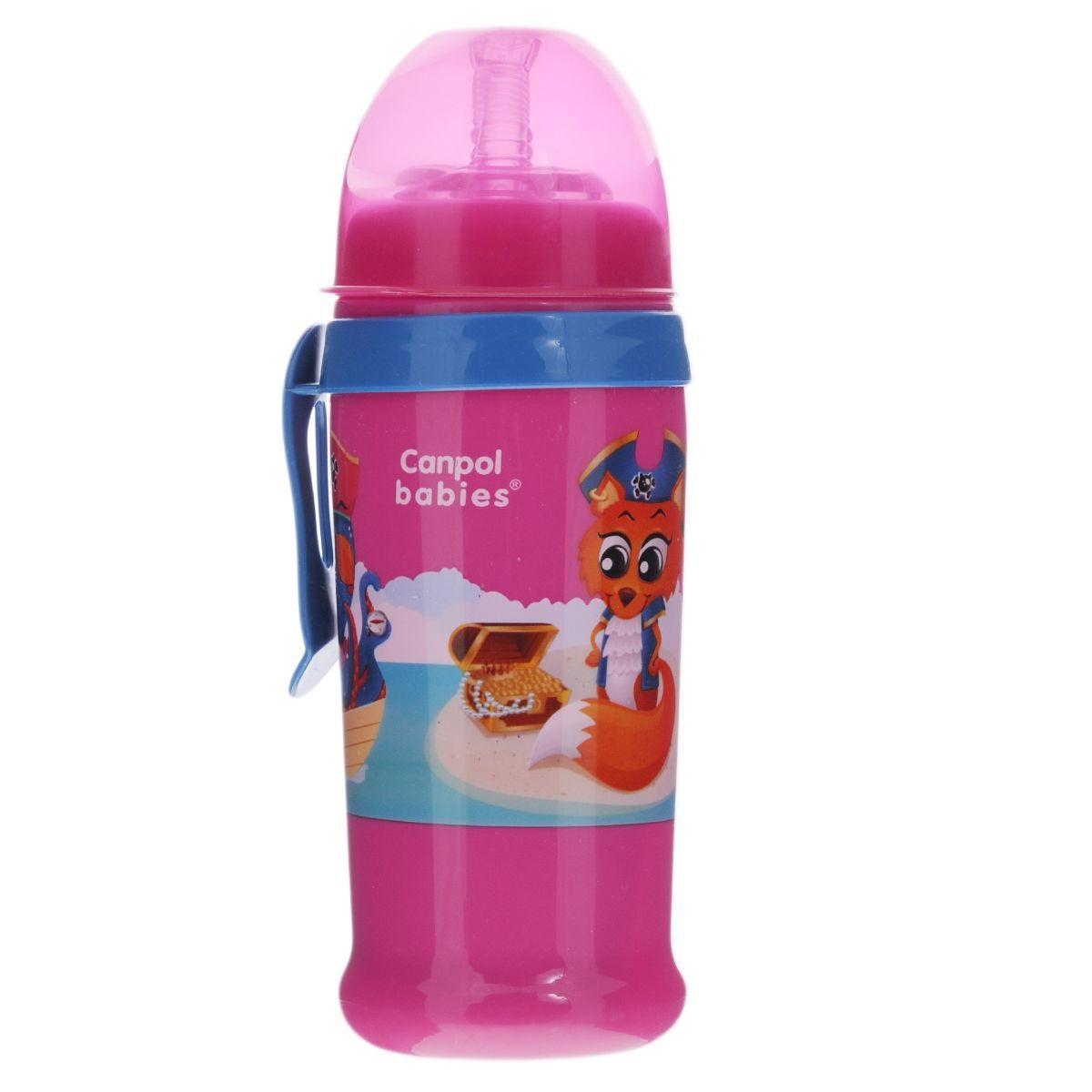Canpol Babies Поильник с силиконовым носиком-трубочкой цвет розовый 350 мл canpol babies коврик развивающий цветной океан