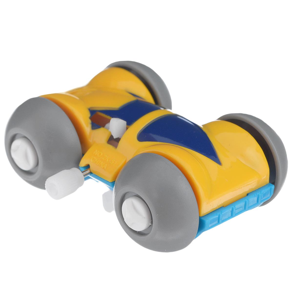 Игрушка заводная Машинка-перевертыш, цвет: голубой, желтый игрушка заводная машинка перевертыш цвет голубой красный