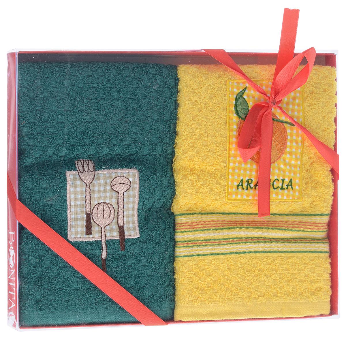 Набор махровых полотенец Bonita Солнечный, цвет: желтый, зеленый, 40 см х 60 см, 2 шт20100313373_желтое/зеленоеНабор Bonita Солнечный состоит из двух махровых полотенец, выполненных из хлопка желтого и зеленого цветов. Полотенца оформлены изящной вышивкой. Такой набор оригинально украсит интерьер и будет уместен как на кухне, так и ванной. Прекрасно подойдет в качестве подарка, который окажется не только приятным, но и полезным в хозяйстве. Размер полотенец: 40 см х 60 см.