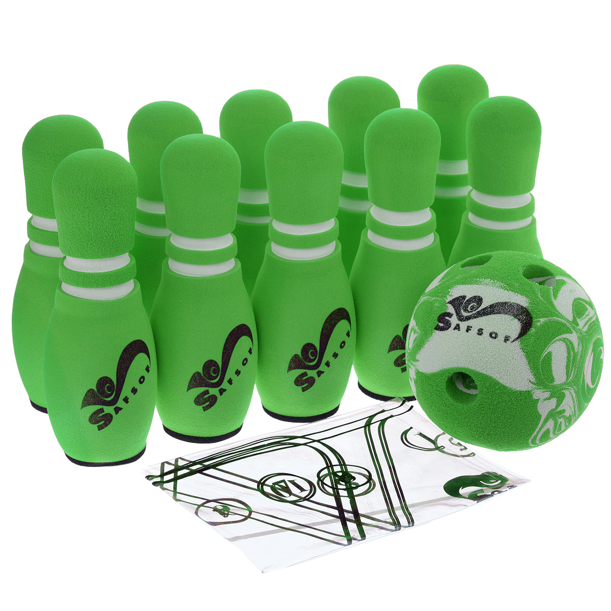 Игровой набор Safsof  Боулинг , цвет: белый, зеленый, диаметр шара 12 см - Игры на открытом воздухе