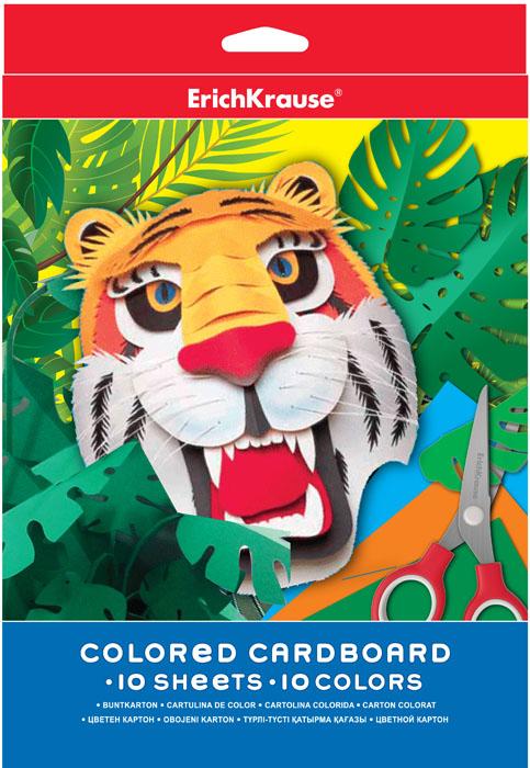 Цветной картон Erich Krause, формат А4, 10 цветов37199Набор цветного картона Erich Krause - это яркие насыщенные оттенки. Аппликации, коллажи, сделанные руками ребенка с использованием такого картона, превратятся в маленькие шедевры.Рекомендуемый возраст: 3+.