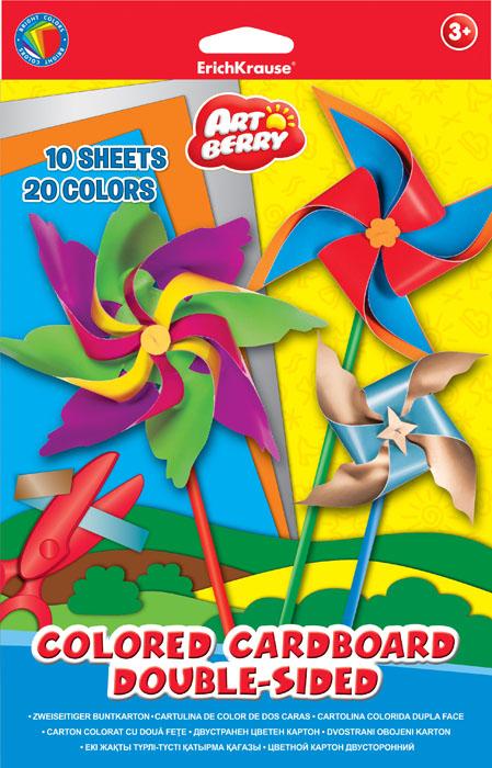 Цветной картон Erich Krause Artberry, двусторонний, формат В5, 20 цветов цветная бумага бархатная в5 10л 10цв erich krause artberry
