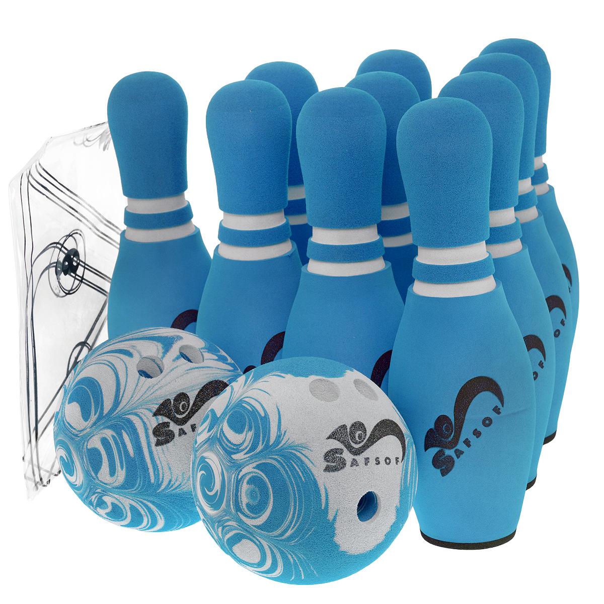 Игровой набор Safsof  Боулинг , цвет: белый, голубой, диаметр шара 14 см - Игры на открытом воздухе