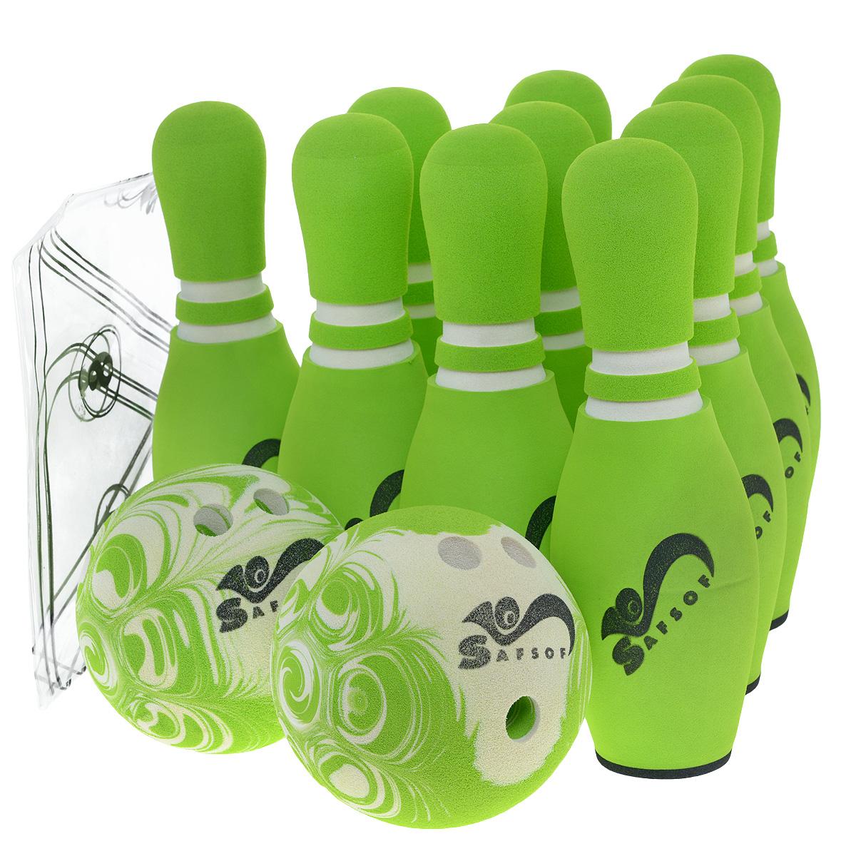 Игровой набор Safsof  Боулинг , цвет: белый, зеленый, диаметр шара 14 см - Игры на открытом воздухе