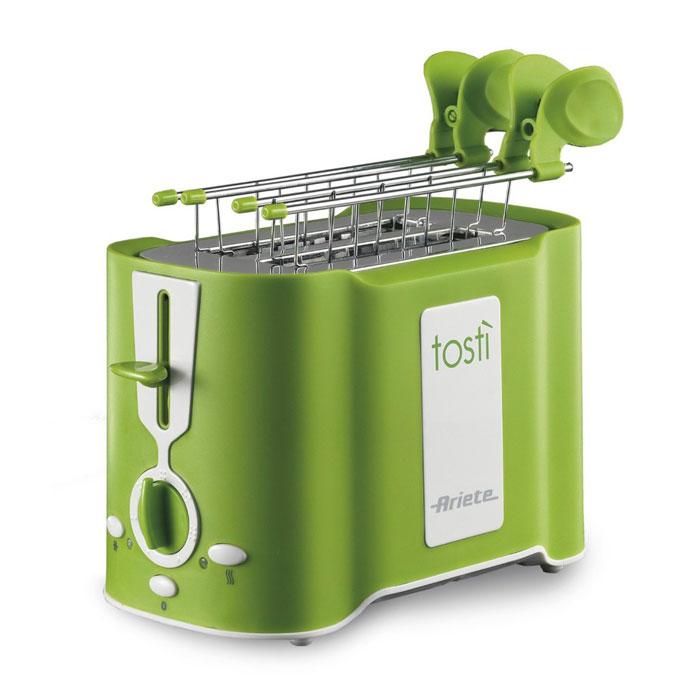 Ariete Tosti, Green тостер (124/12)124/12 greenТостер Ariete Tosti идеально подходит для поджаривания хлеба на завтрак или на закуску. Он имеет 6 уровнейприготовления, что позволяет настроить желаемую степень поджаривания. Поддон для крошек является съемнымдля облегчения чистки. Функции разморозки и автоматического извлечения ломтиков делают его бесспорнымсоюзником на кухне.Уровни подрумянивания: 6Автоматическое извлечениеПоддон для крошек