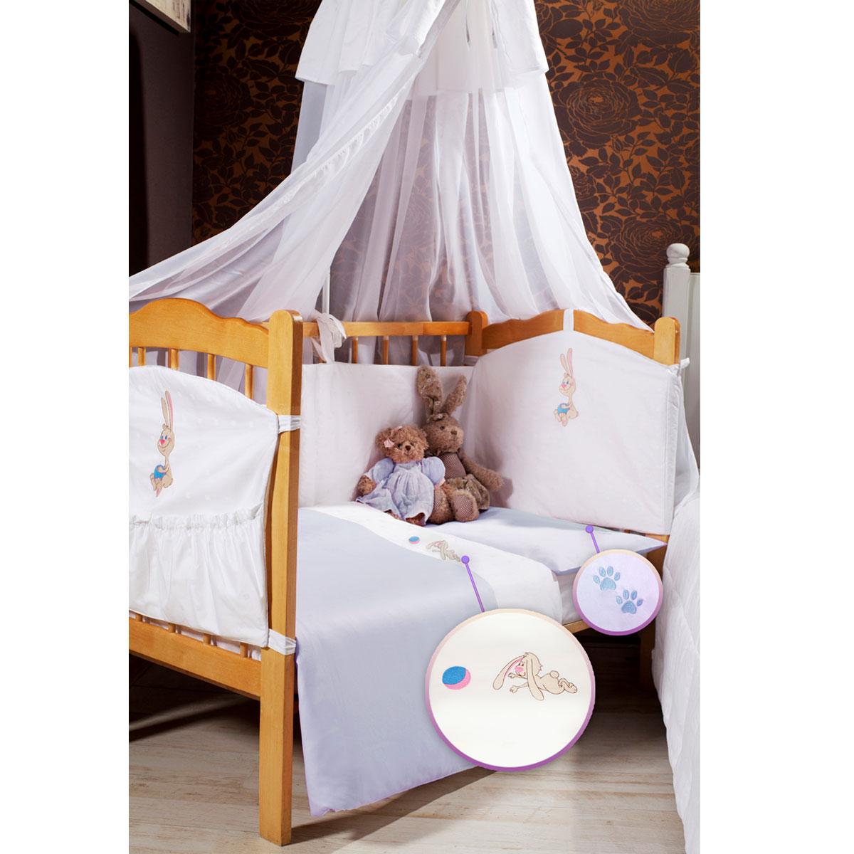 Детское постельное белье Primavelle Lovely Baby (ясельный спальный КПБ, хлопок, наволочка 42х62), цвет: голубой baby safe барьер защитный для кроватки цвет синий 120 х 42 см