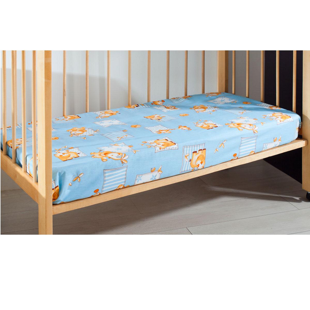 Простыня на резинке детская Primavelle, цвет: голубой, 60 см х 120 см х 20 см114612110-18