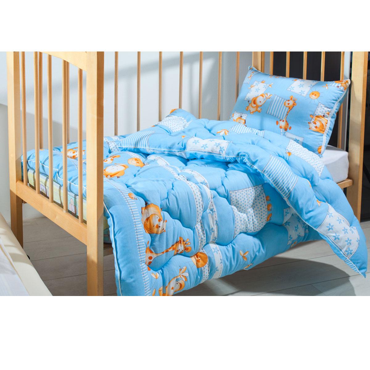 Одеяло детское Подушкино Лежебока, стеганое, цвет: голубой, 110 см х 140 см лежебока одеяло всесезонное taylak