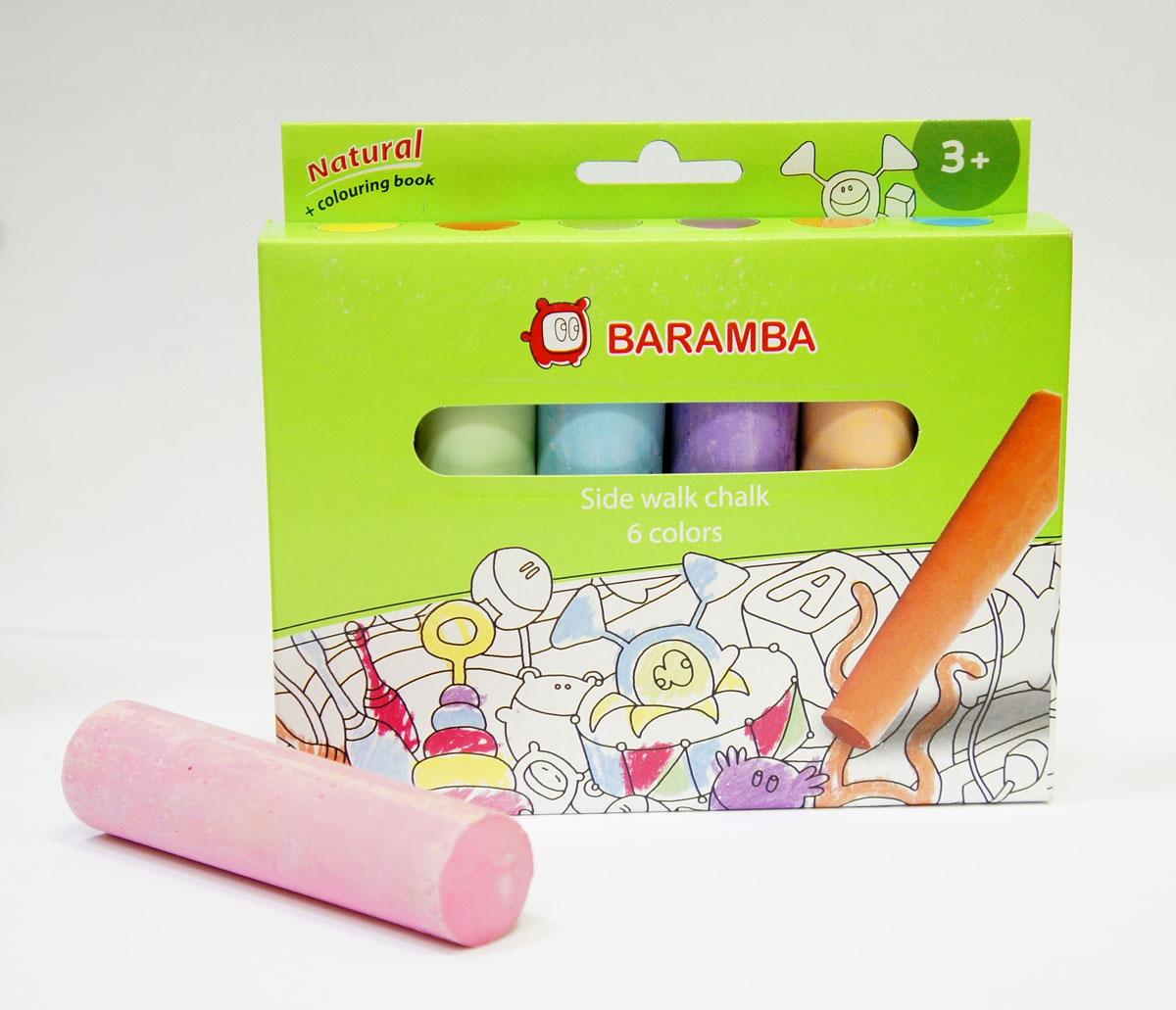 Мел для асфальта Baramba, 6 цветовPHN-36Мел для асфальта Baramba включает в себя 6 мелков ярких цветов. Мелки предназначены для рисования на асфальте. Благодаря крупному размеру и форме, мелки удобно держать в руке. Мел удобен в использовании, не крошится, не царапает доску, не пачкает руки.Рисование разноцветными мелками способствует развитию творческих способностей малыша, воображения и мелкой моторики рук. Не рекомендуется детям до 3-х лет.
