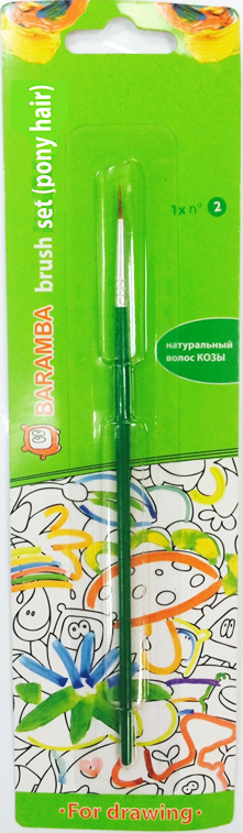 Baramba Кисть из волоса пони №2B81002Круглая кисть Baramba идеально подойдет для детского творчества, художественных и декоративно-оформительских работ. Щетинки кисти из натурального ворса пони предназначены для работы с акварелью, гуашью, тушью. Конусообразная форма пучка позволяет прорисовывать мелкие детали и выполнять заливку фона. В набор входит одна круглая кисть №2. Деревянная ручка оснащена алюминиевой втулкой с двойной обжимкой.