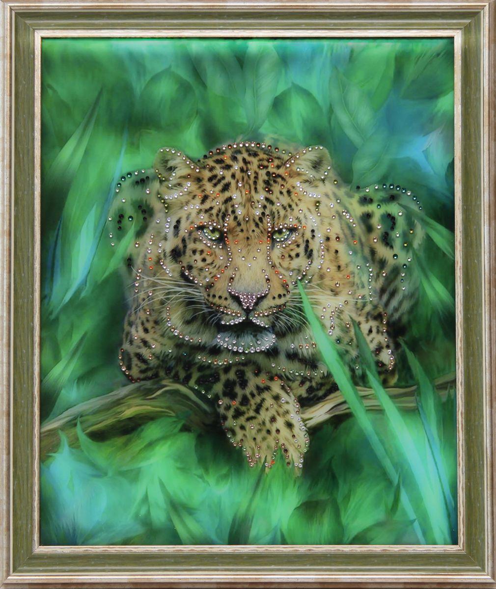 1622 Картина Сваровски Гепард1622стекло, хрусталь, алюминий. 56,7х46,7