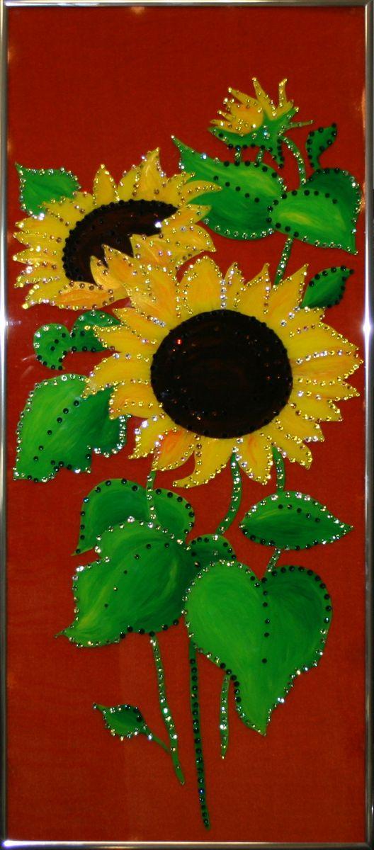 1563 Картина Сваровски СОЛНЕЧНЫЙ ПОДСОЛНУХ1563стекло, хрусталь, алюминий. 30х70