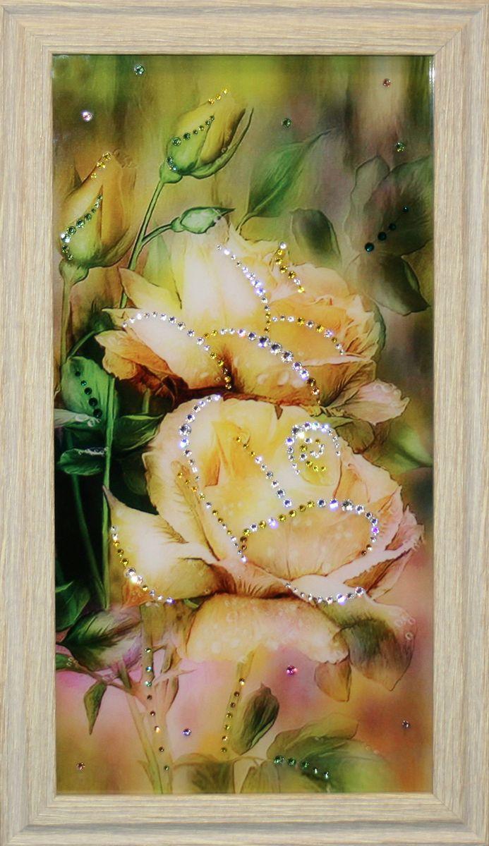 1575 Картина Сваровски ВЕРА МАЛАЯ1575стекло, хрусталь, алюминий. 26,5х46,5