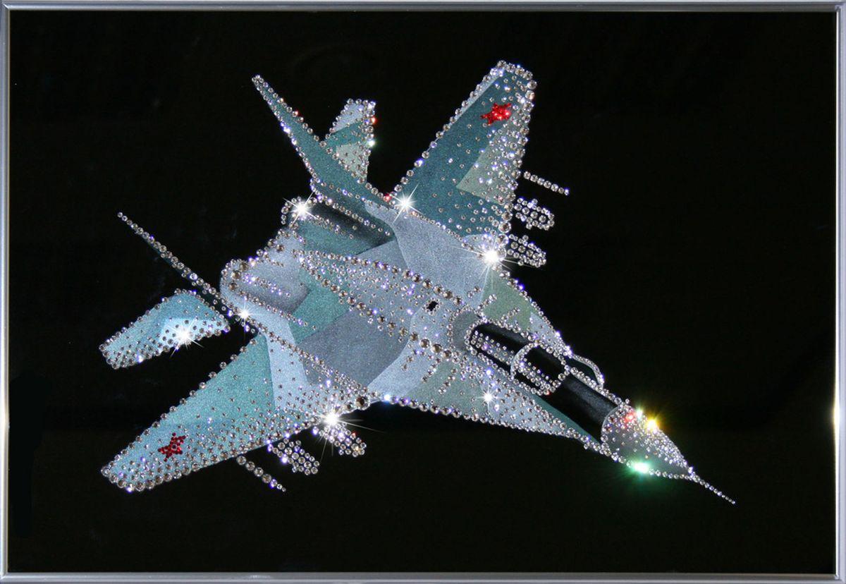 1072 Картина Сваровски Военный истребитель1072стекло, хрусталь, алюминий. 60х40