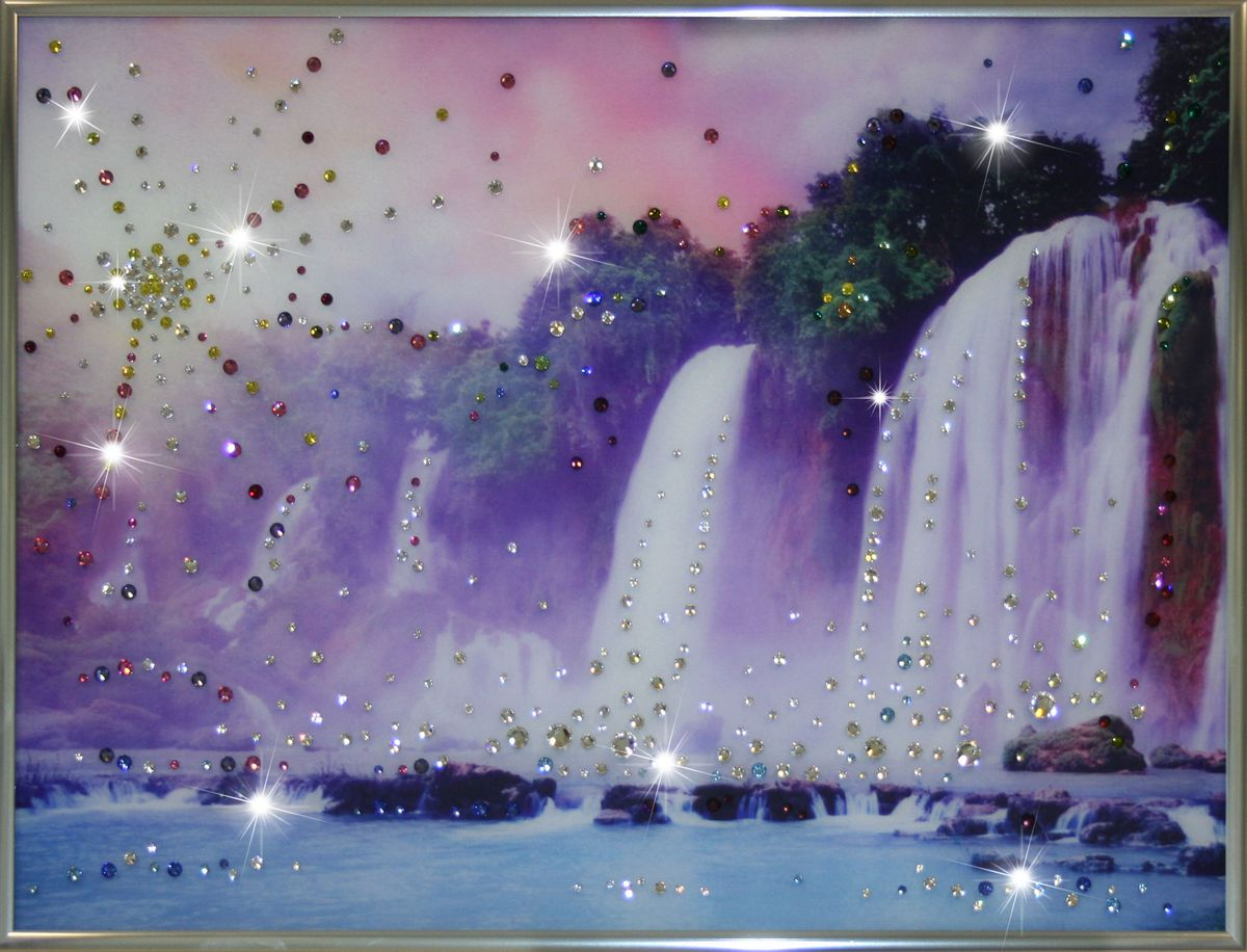 1092 Картина Сваровски Долина Водопадов1092стекло, хрусталь, алюминий. 40х30