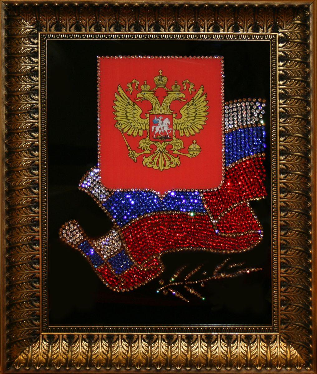 1399 Картина Сваровски Флаг и герб РФ1399стекло, хрусталь, пластик. 43х53