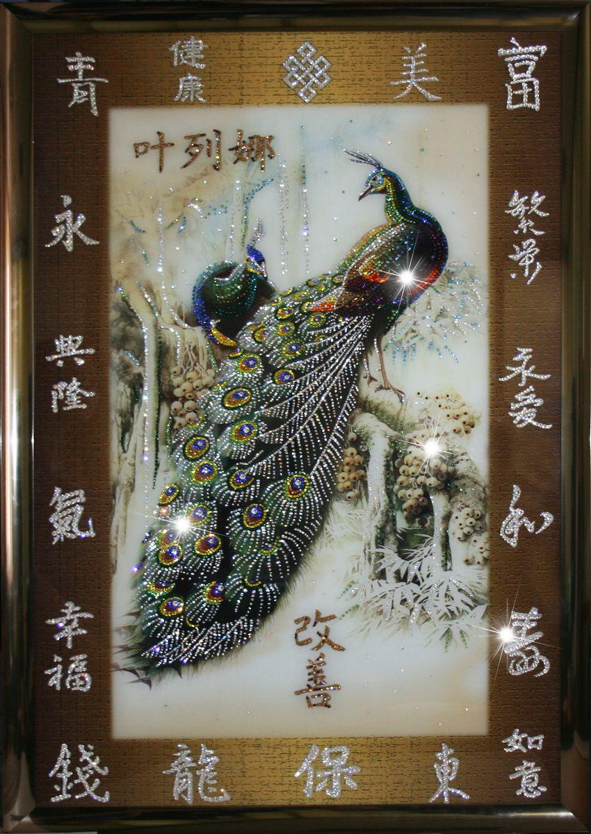 1403 Картина Сваровски Павлины Фей-шуй1403стекло, хрусталь, пластик. 128х88