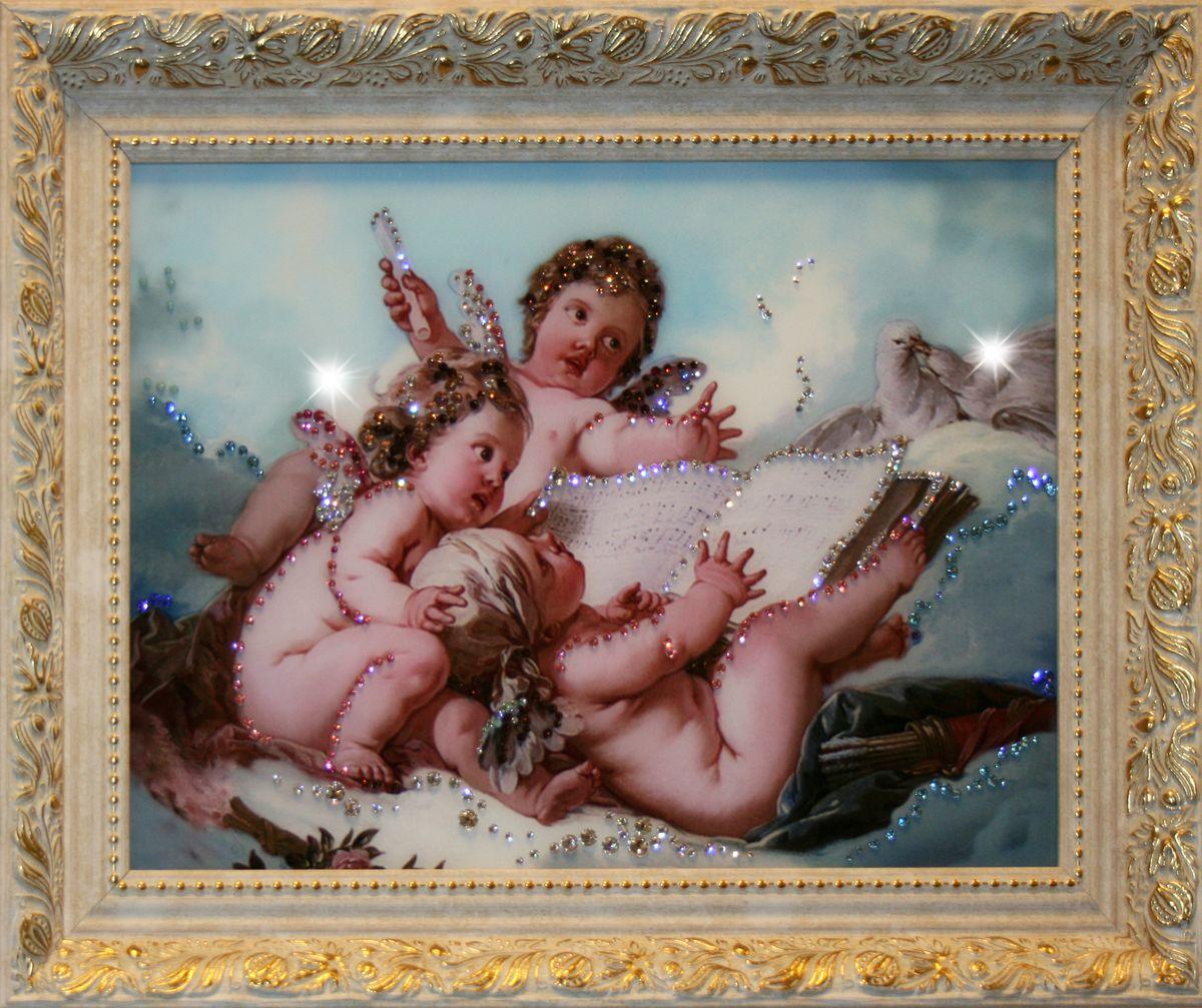 1415 Картина Сваровски Небесные Ангелы1415стекло, хрусталь, алюминий. 50х40