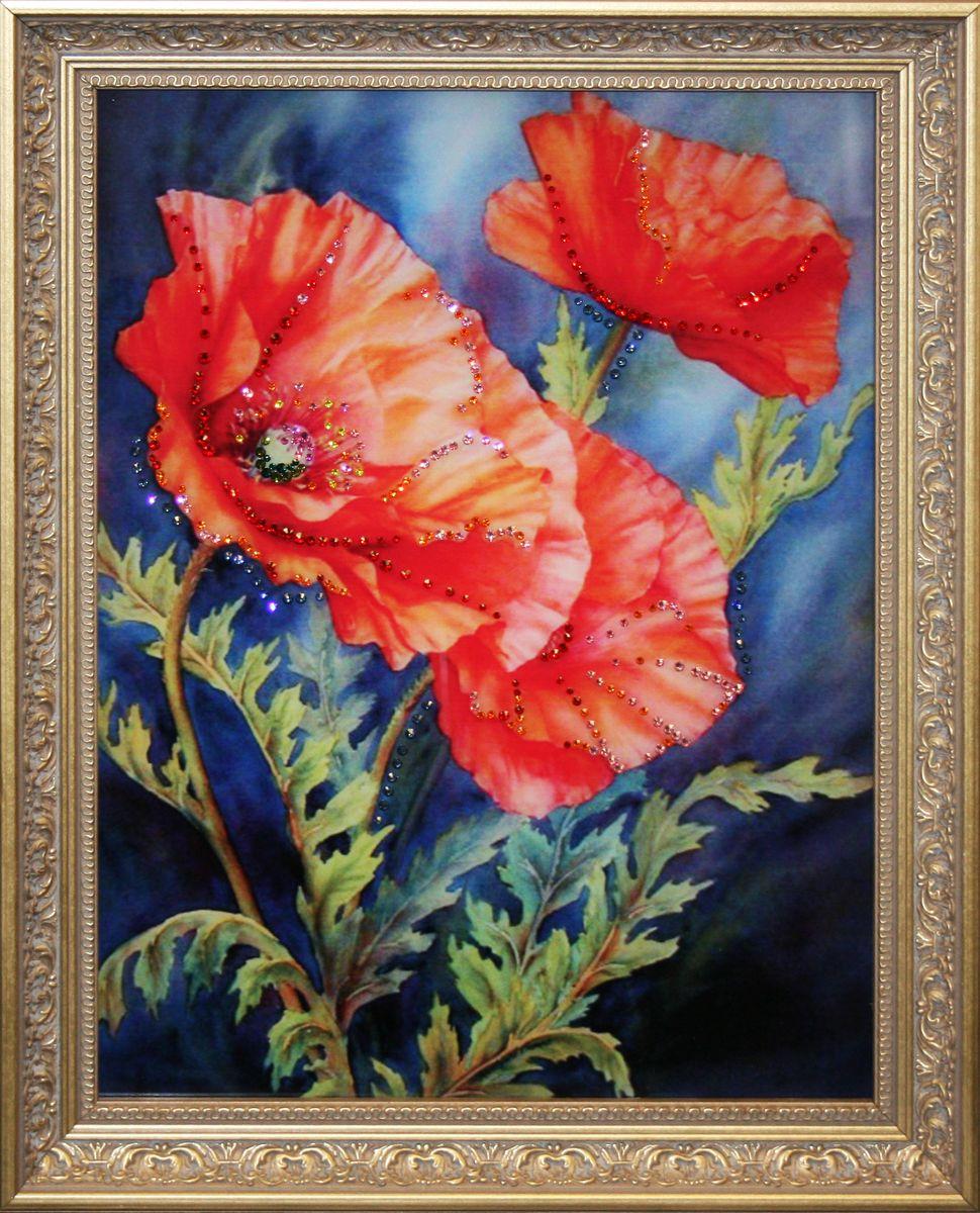 1432 Картина Сваровски Маковый сок1432стекло, хрусталь, алюминий. 37х47