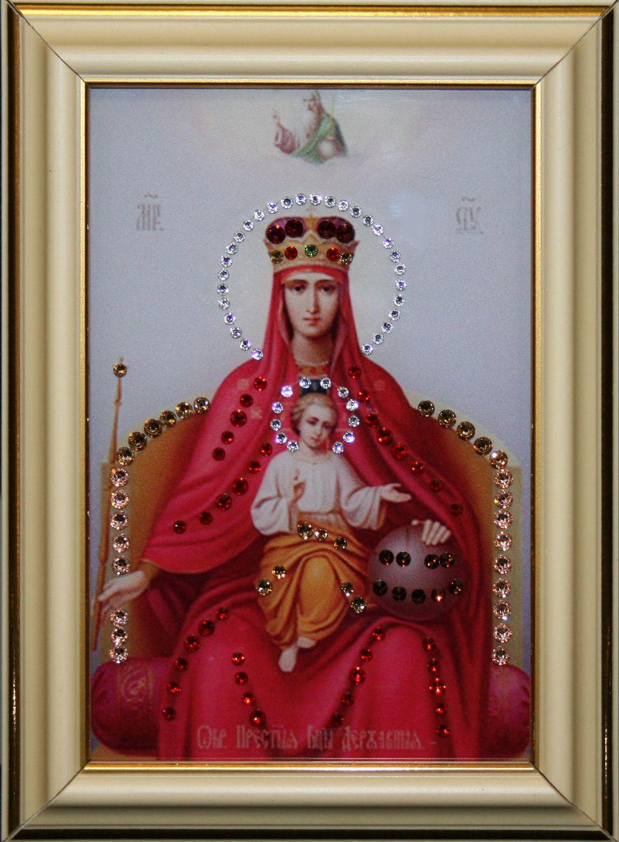 1477 ИКОНА БОЖИЕЙ МАТЕРИ ДЕРЖАВНАЯ МАЛАЯ1477стекло, хрусталь, алюминий. 12,3х17,6