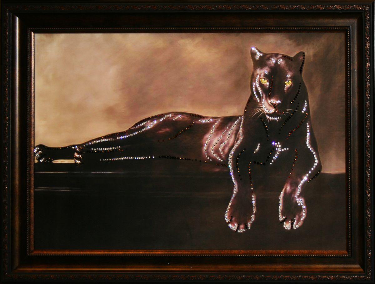 1484 Картина Сваровски Грация Пантеры1484стекло, хрусталь, пластик. 71х51