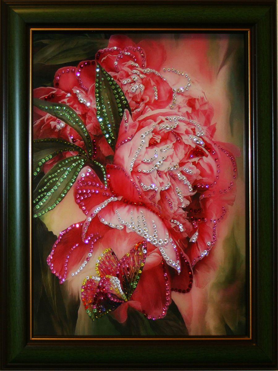 1486 Картина Сваровски Цветы пионов1486стекло, хрусталь, алюминий. 38х48