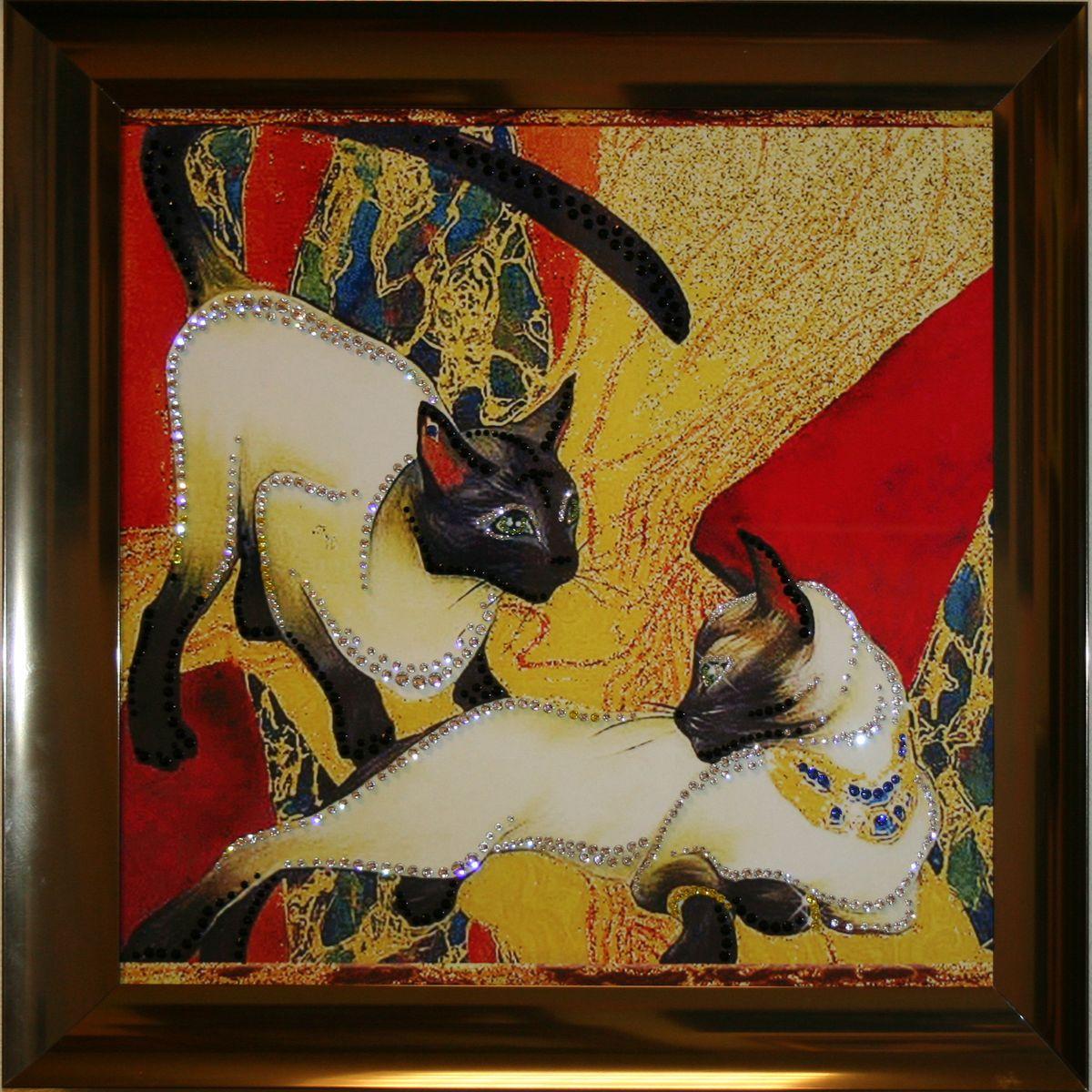 1487 Картина Сваровски Кошки1487стекло, хрусталь, алюминий. 48х48